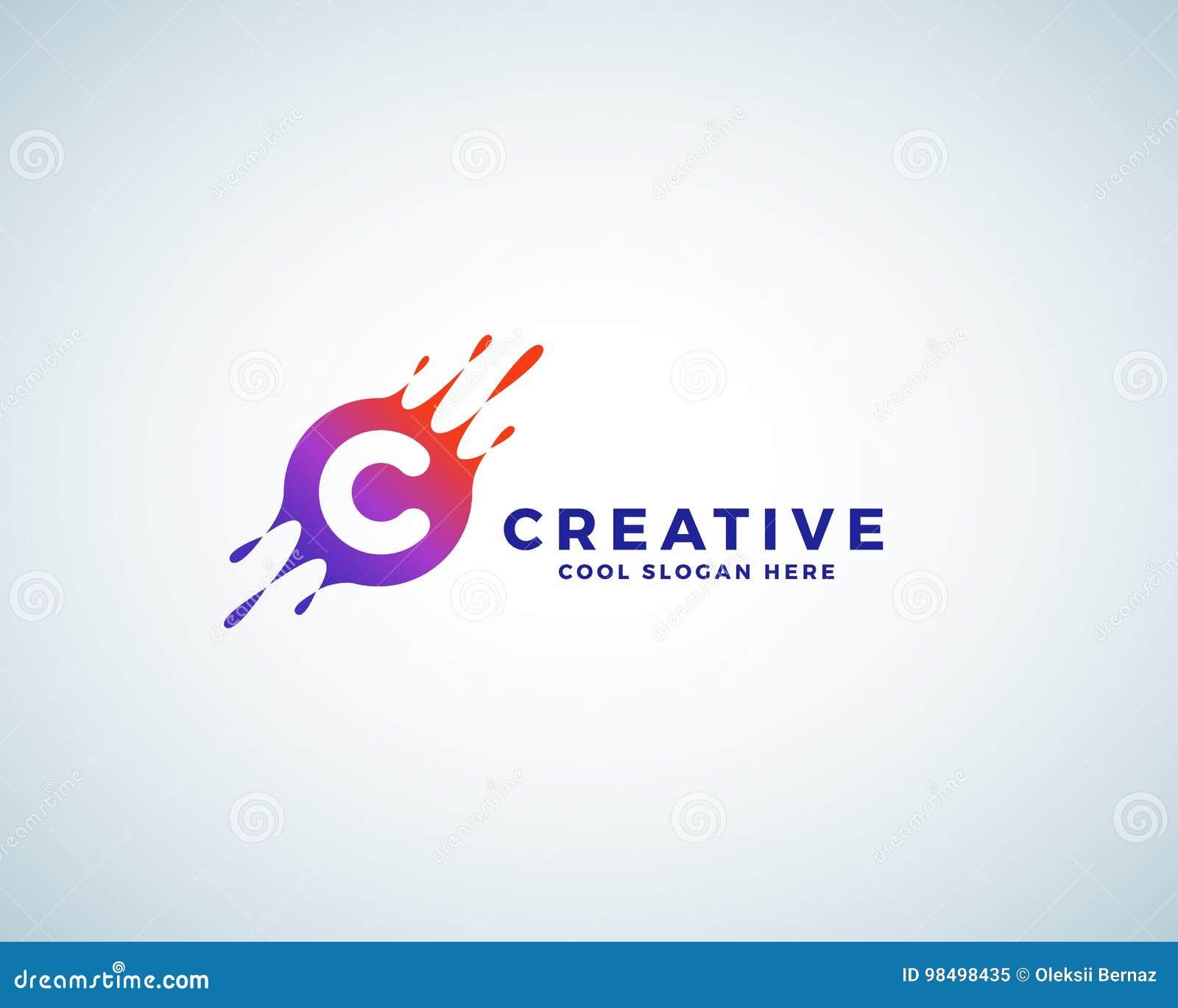 La lettre C incorporée dans la tache colorée de gradient avec éclabousse Signe, emblème ou Logo Template abstrait de vecteur créa