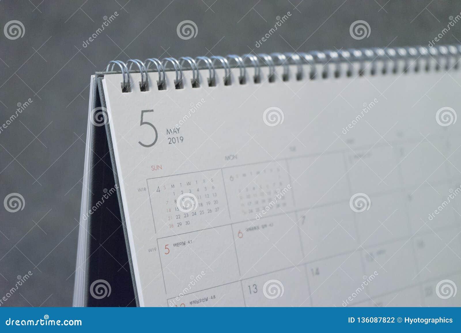 La lettre mai sur le calendrier 2019