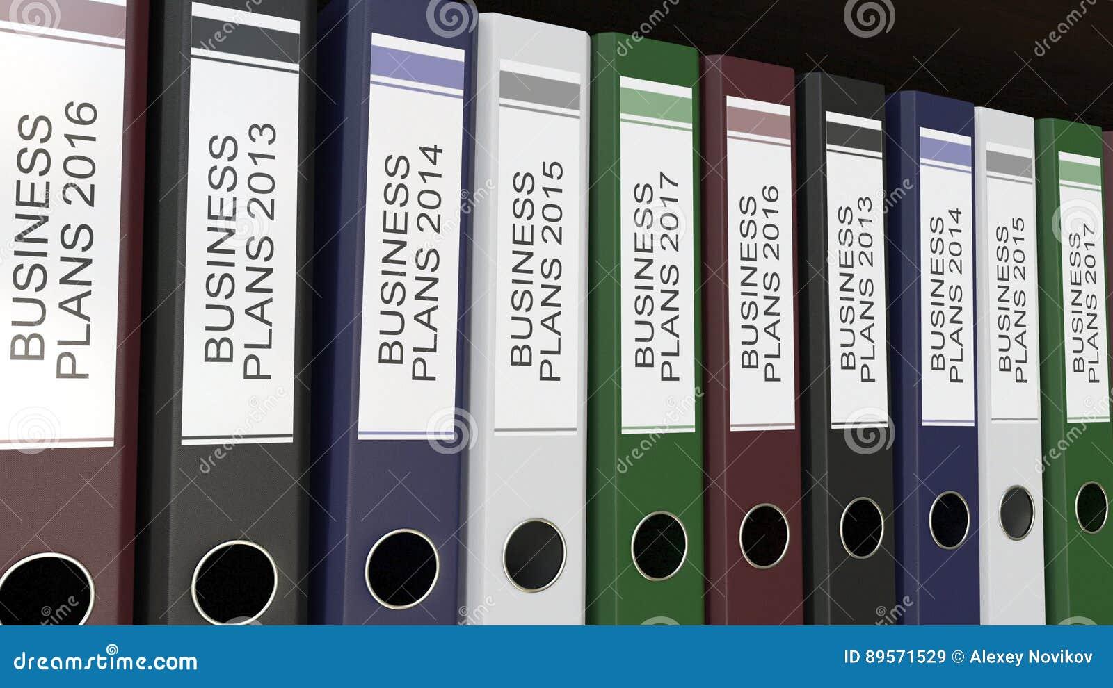 La ligne des reliures multicolores de bureau avec des plans d action étiquette le rendu différent des années 3D