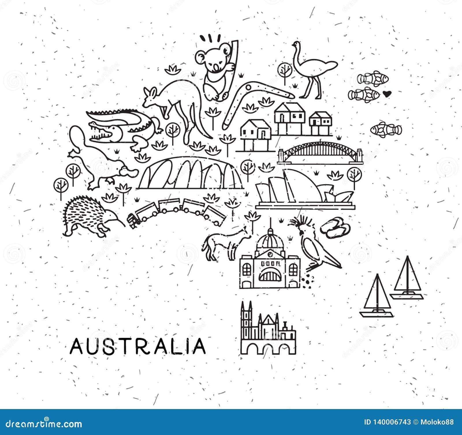 La ligne icônes de voyage de l Australie tracent Affiche de voyage avec des animaux et des attractions guidées Vecteur inspiré
