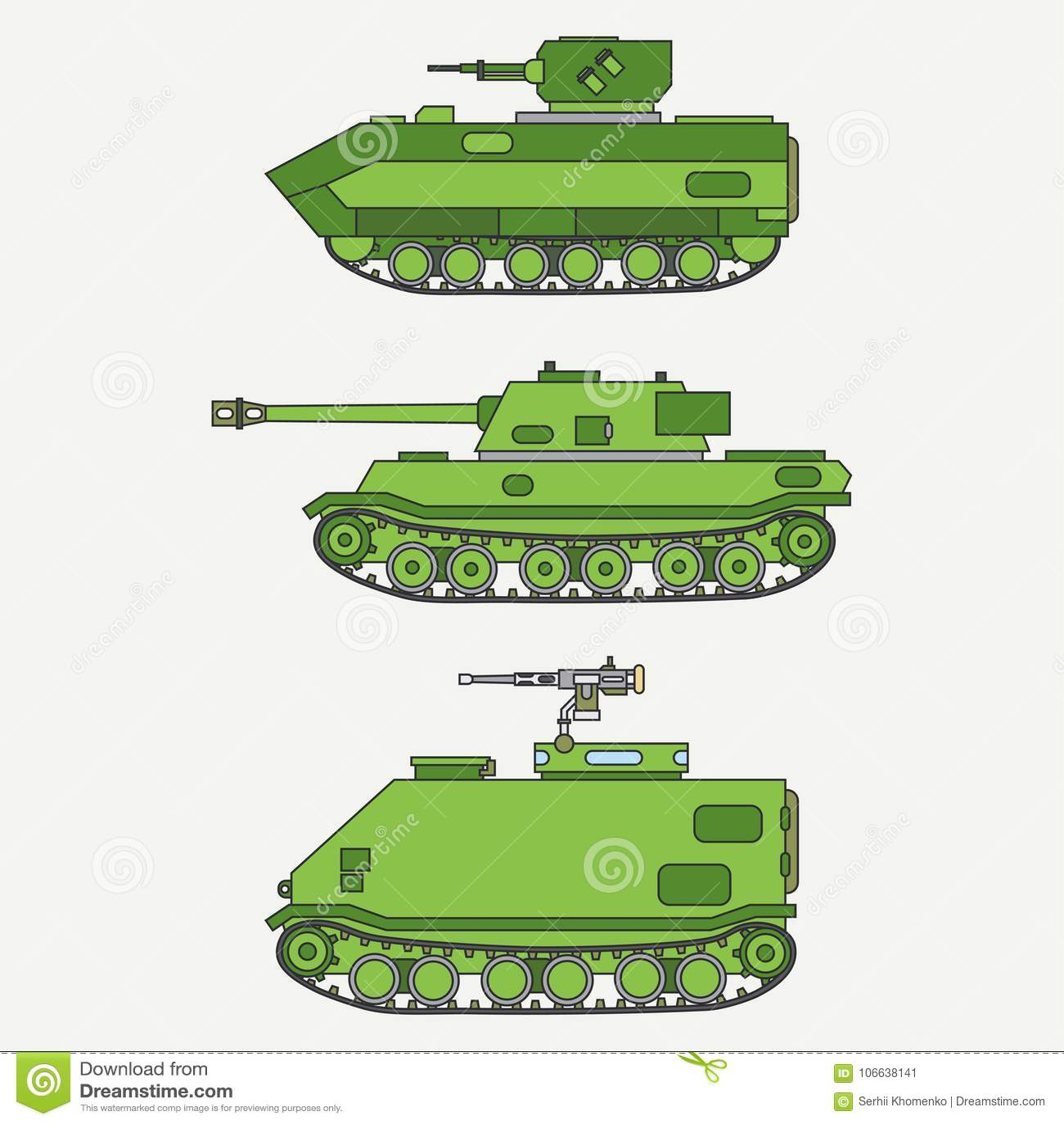 La ligne infanterie réglée de couleur d icône plate de vecteur assaillent le réservoir d armée Véhicule militaire Style de vintag
