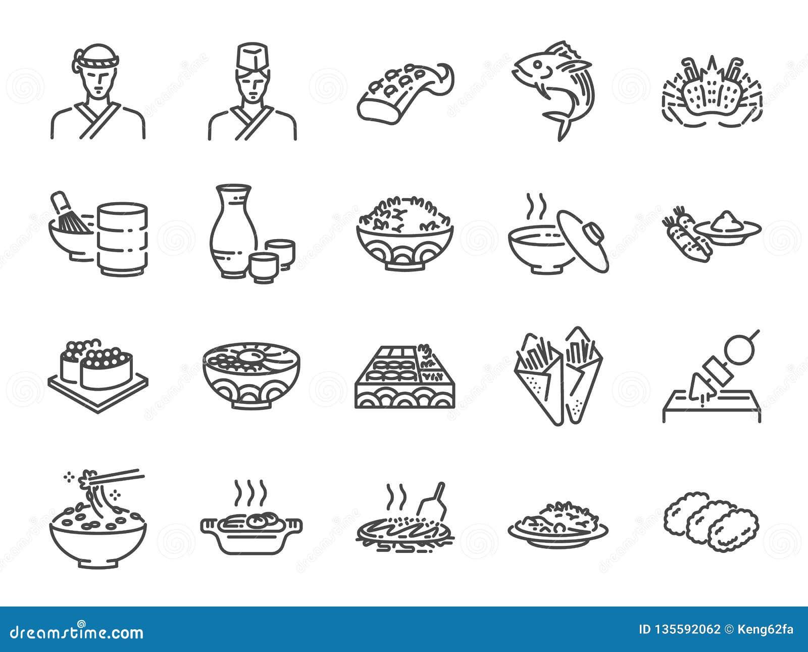 La ligne japonaise icône de nourriture a placé 2 A inclus les icônes comme sushi, sashimi, maki, petit pain de sushi, Tonkatsu et