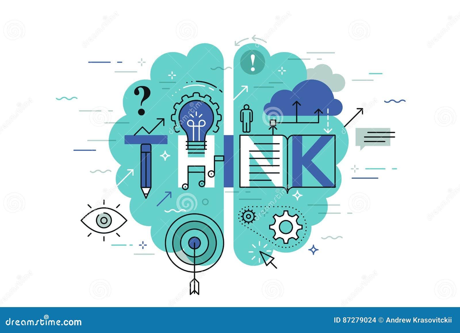 La ligne mince bannière plate de conception pour pensent la page Web, apprenant, la connaissance, innovation, créativité, solutio