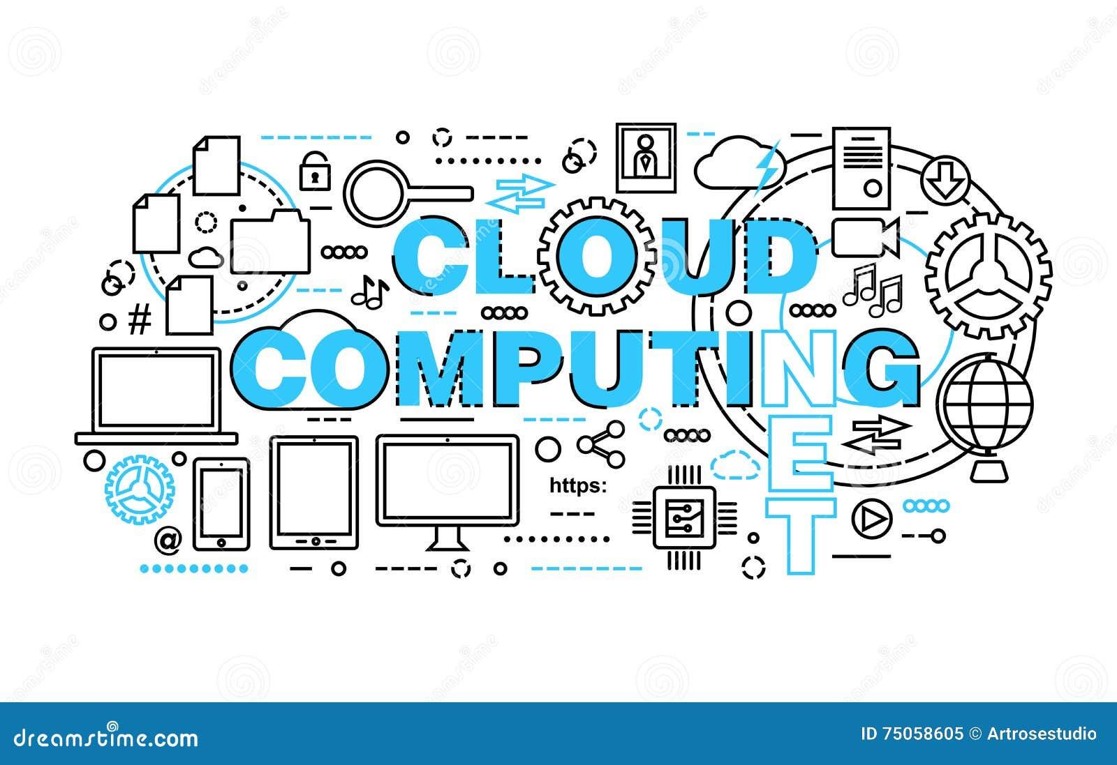La ligne mince plate moderne l illustration de vecteur de conception, concept des technologies informatiques de nuage, protègent