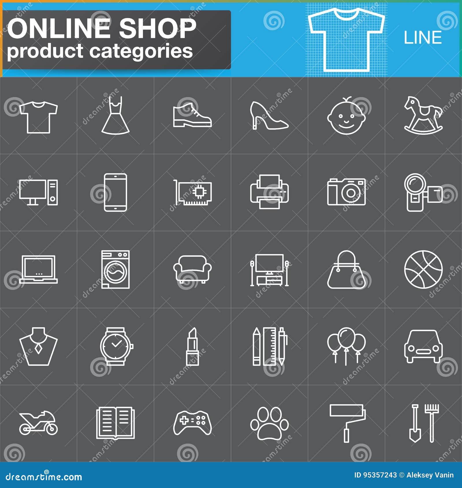 La linea online icone di categorie di prodotto di acquisto ha fissato, descrive il vettore