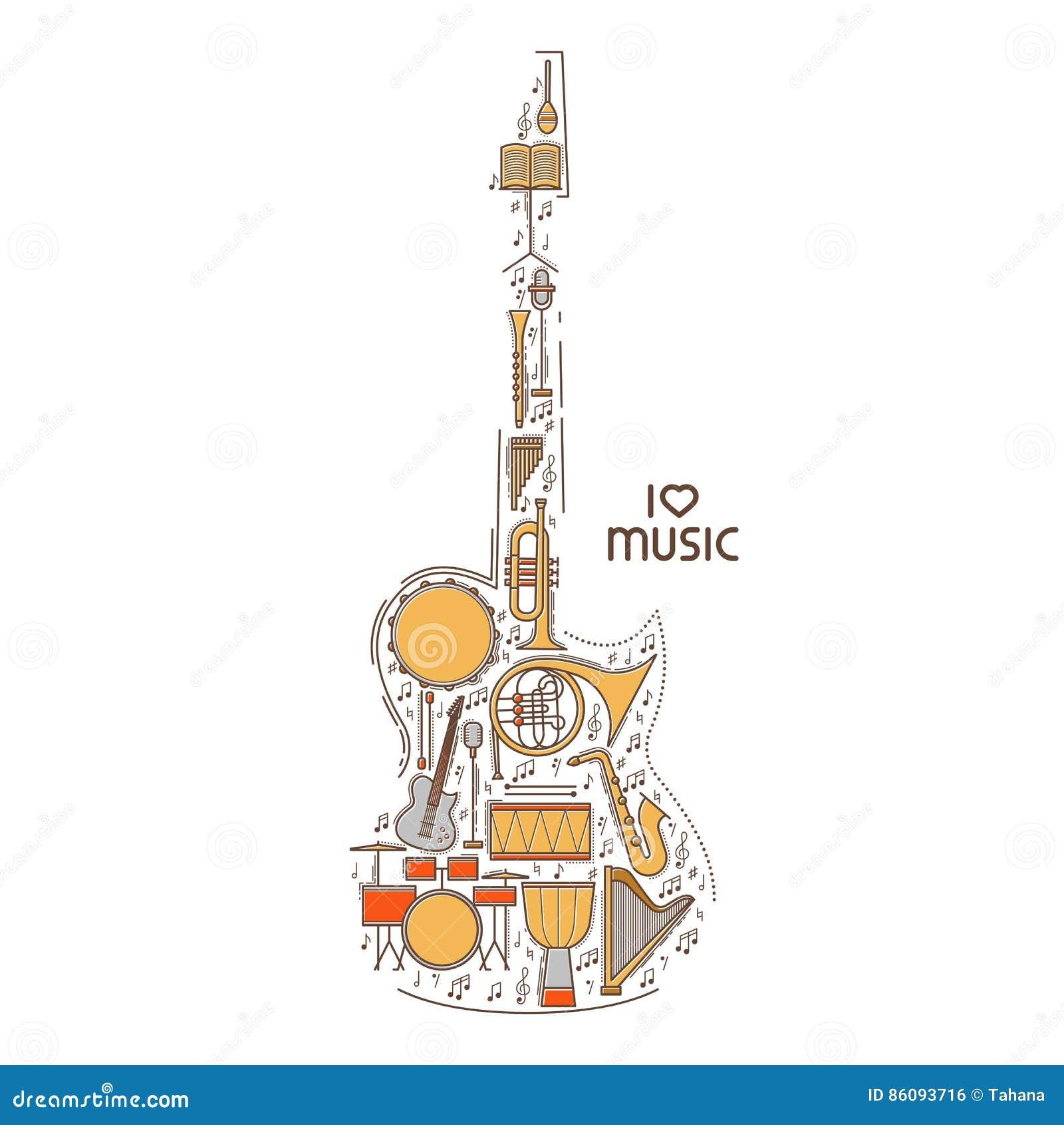 La linea piana icona di musica ha messo nella forma della chitarra Concetto di vettore Illustrazione moderna Progettazione d anna