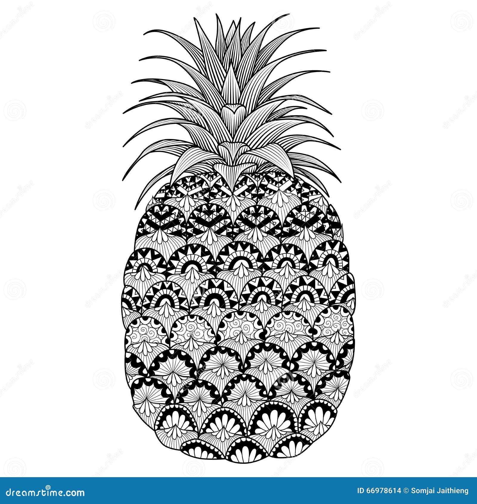 La Linea Progettazione Dell Ananas Per Il Libro Da Colorare Per L