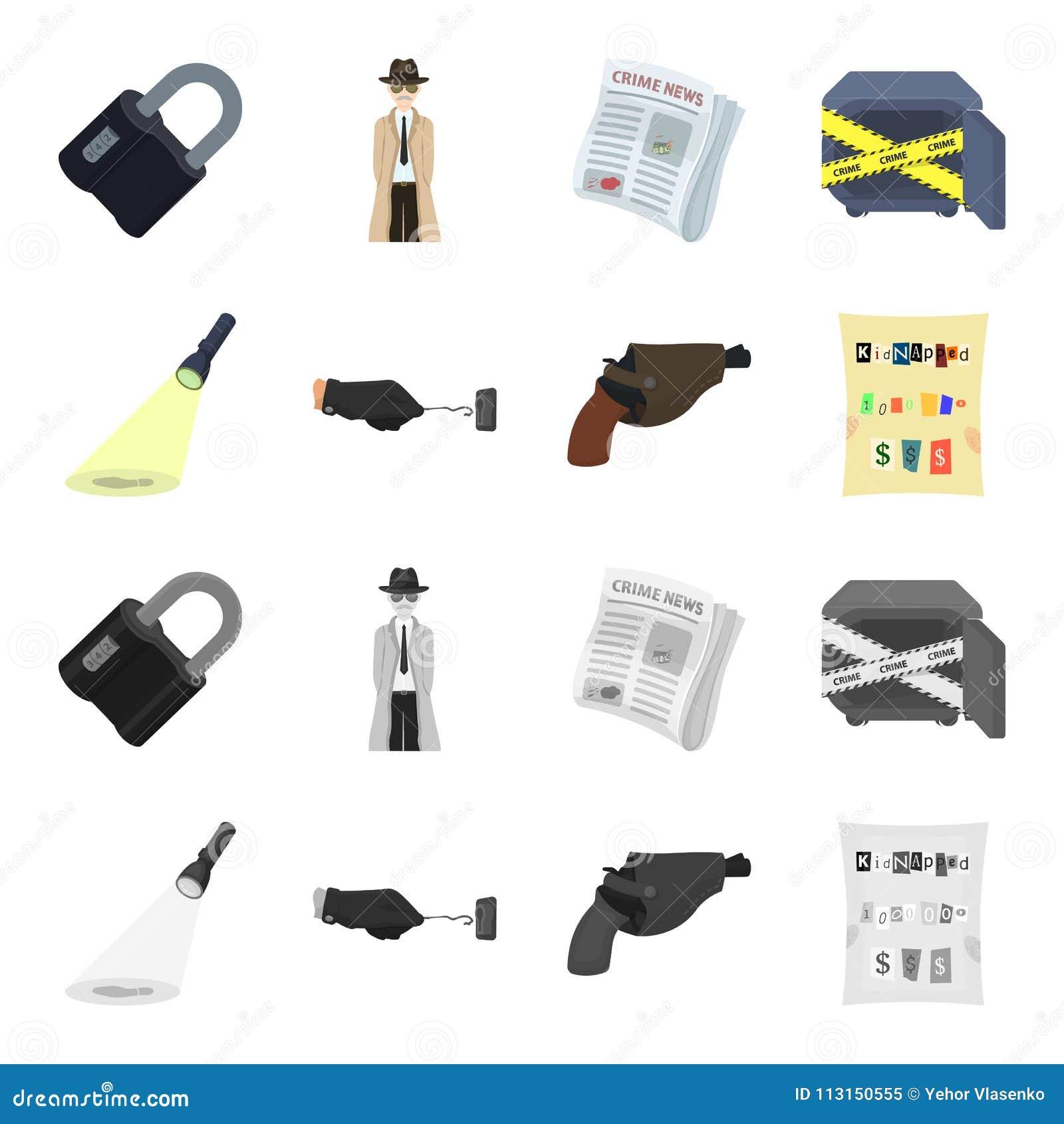 La linterna detective ilumina la huella, la mano criminal con la llave principal, una pistola en la pistolera,