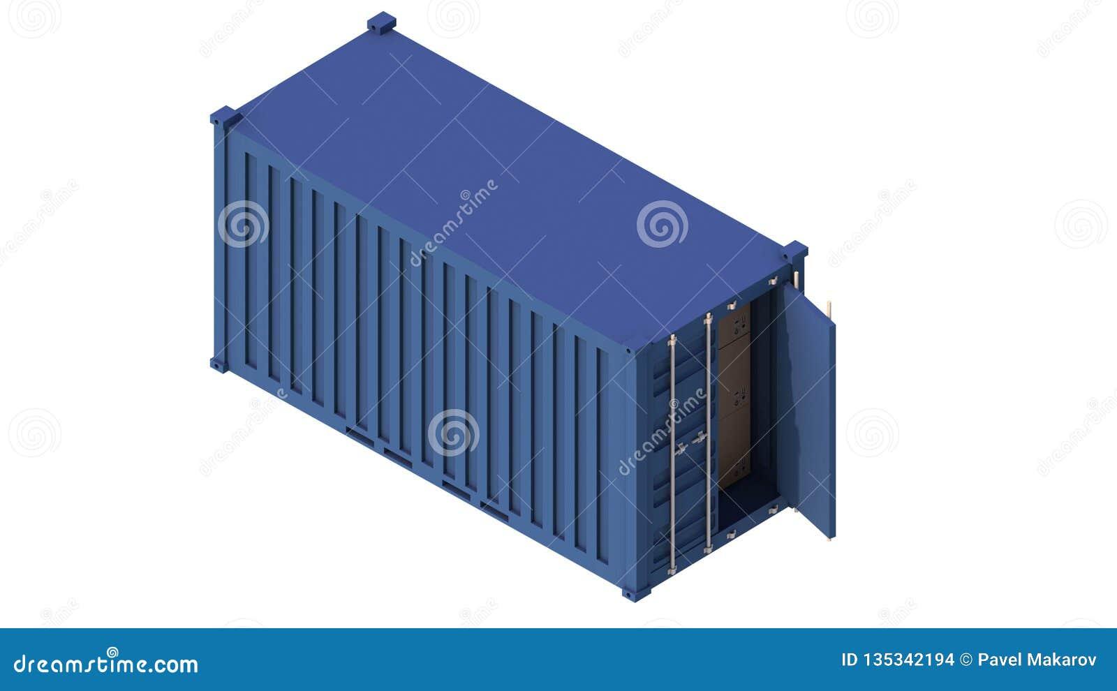 La livraison isométrique intermodale du conteneur 3d de cargaison Transportez l industrie, exportation, produits industriels de s