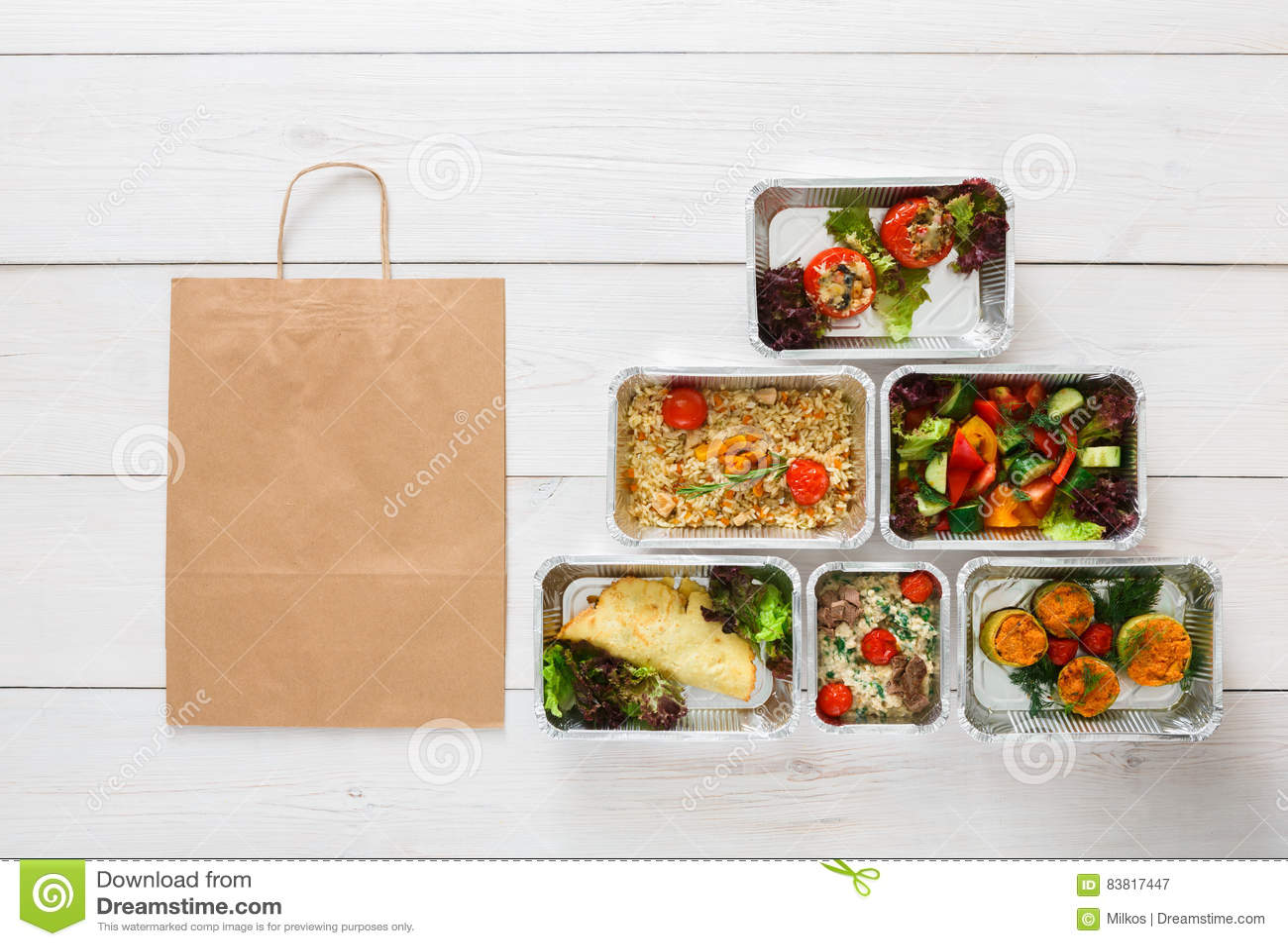 La livraison saine de nourriture, repas quotidiens vue supérieure, l espace de copie