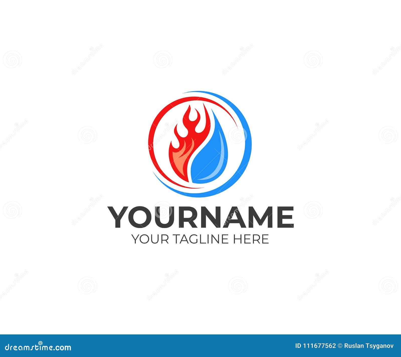 La llama y el descenso riegan, refrescando y calentando la plantilla del logotipo Vector de la fontanería, de la calefacción, del