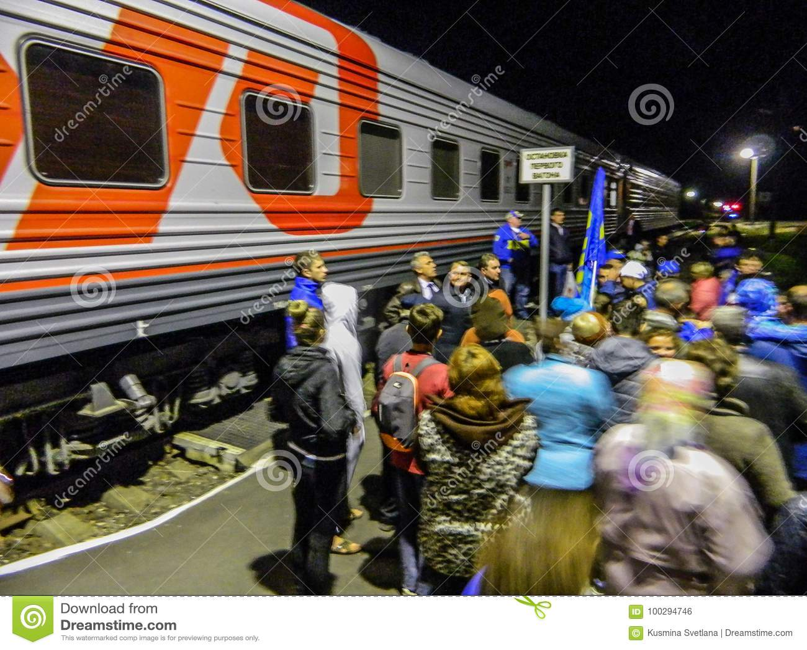 La llegada del tren de la campaña del partido democrático liberal ruso
