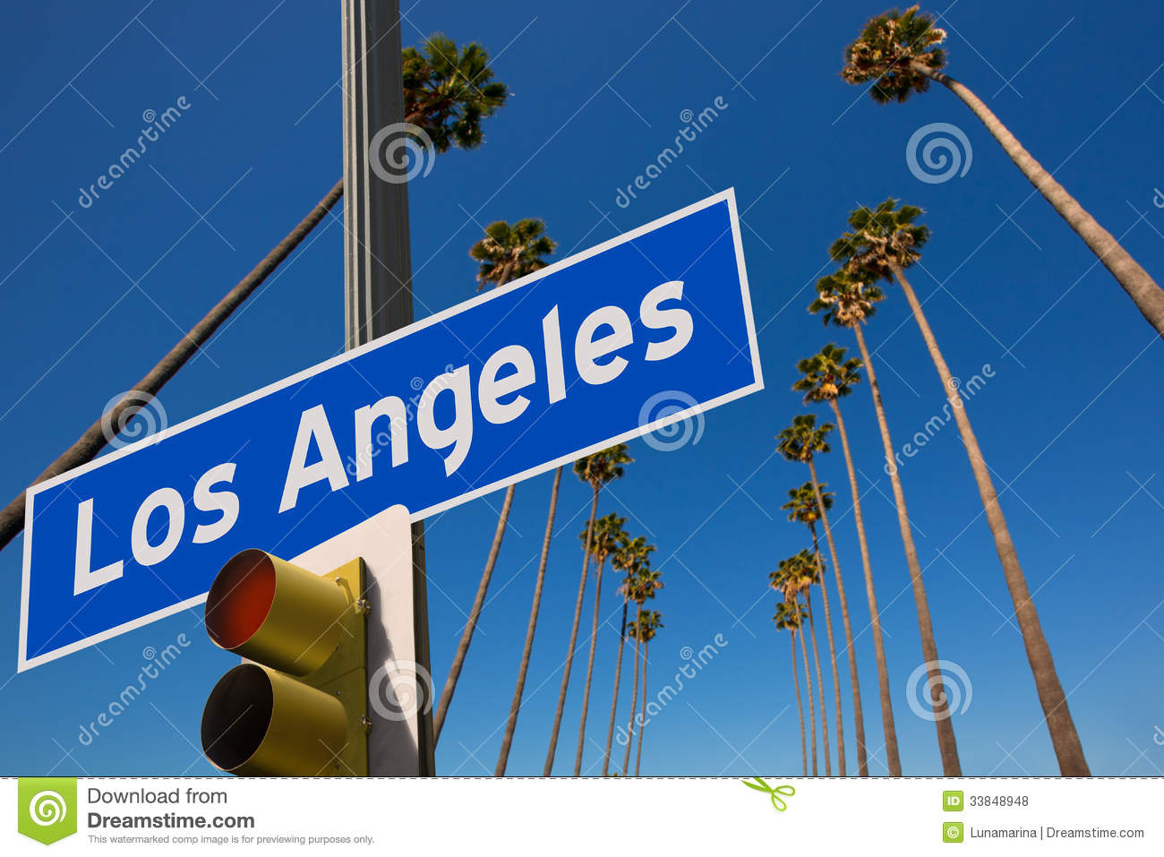LA Los Angeles Palm Trees In A Row Road Sign Photo Mount