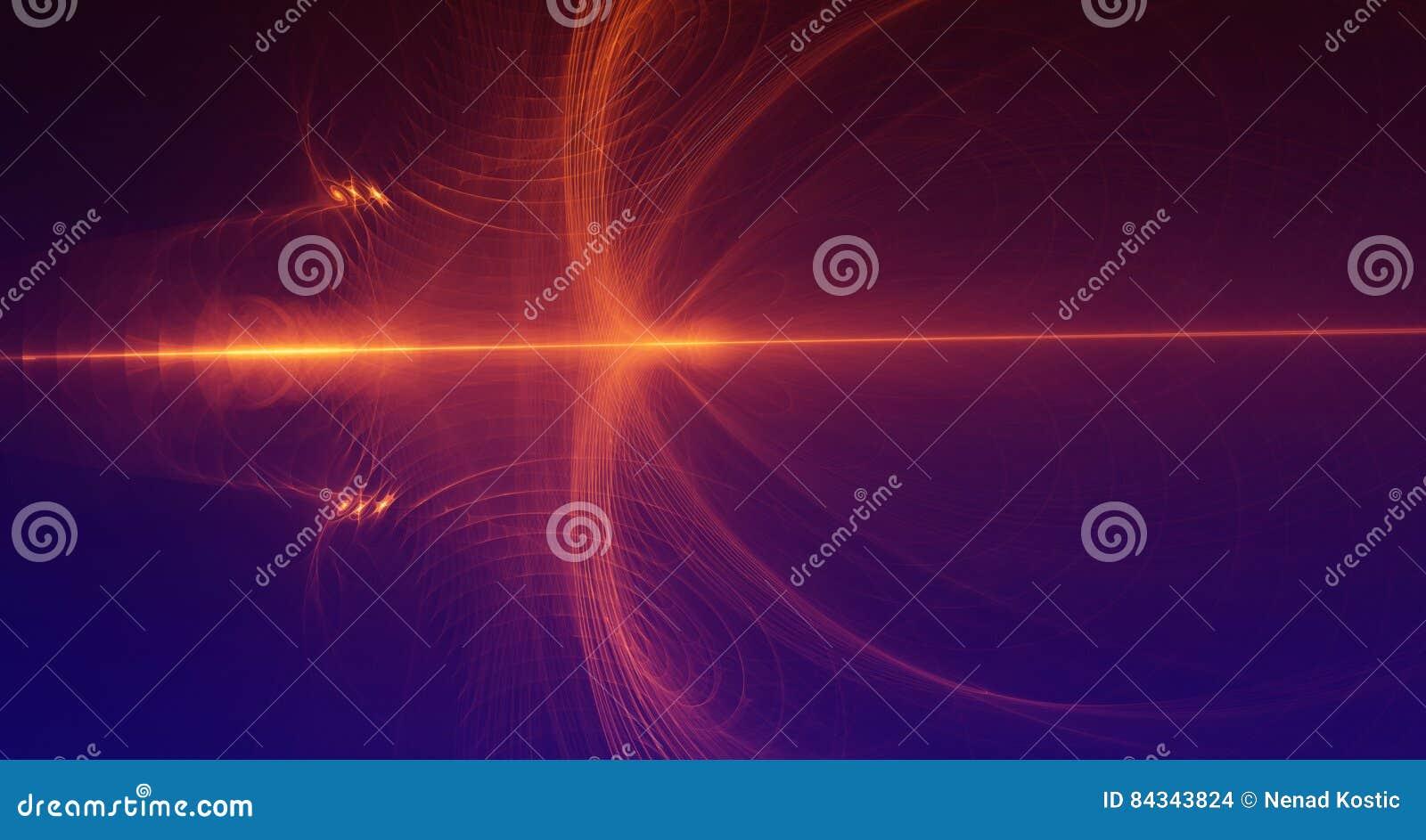 La luce rossa ed arancio astratta emette luce su fondo blu scuro