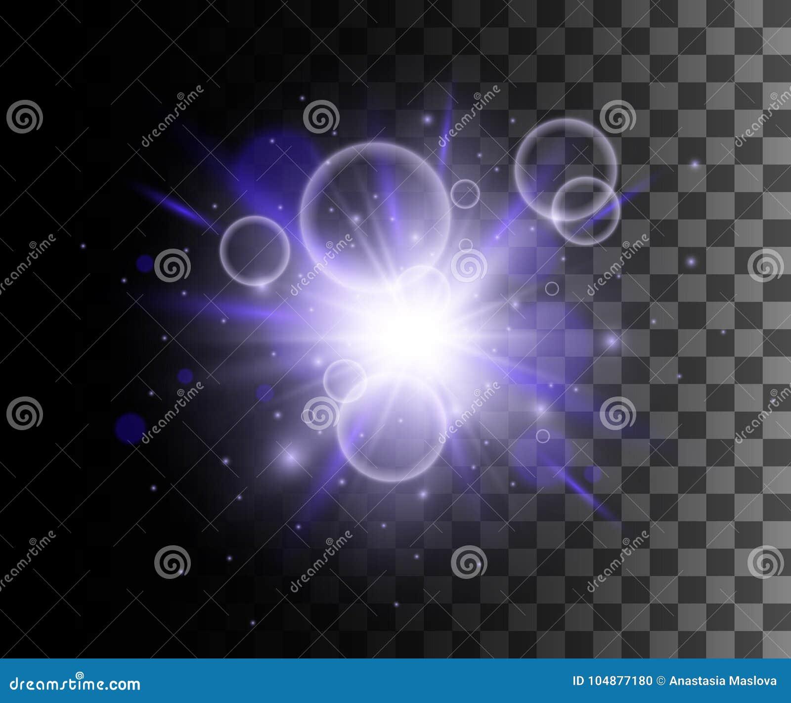 La lueur a isolé l effet transparent blanc, la fusée de lentille, l explosion, le scintillement, la ligne, l éclair du soleil, l