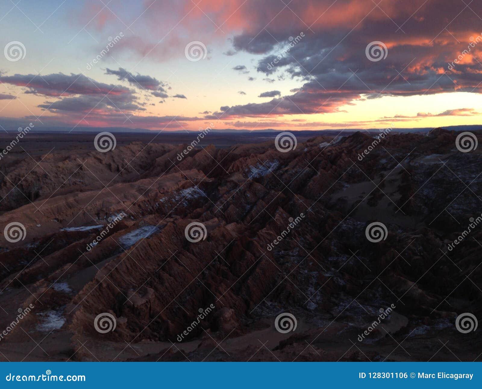 La Luna de Valle de no deserto de Atacama o Chile