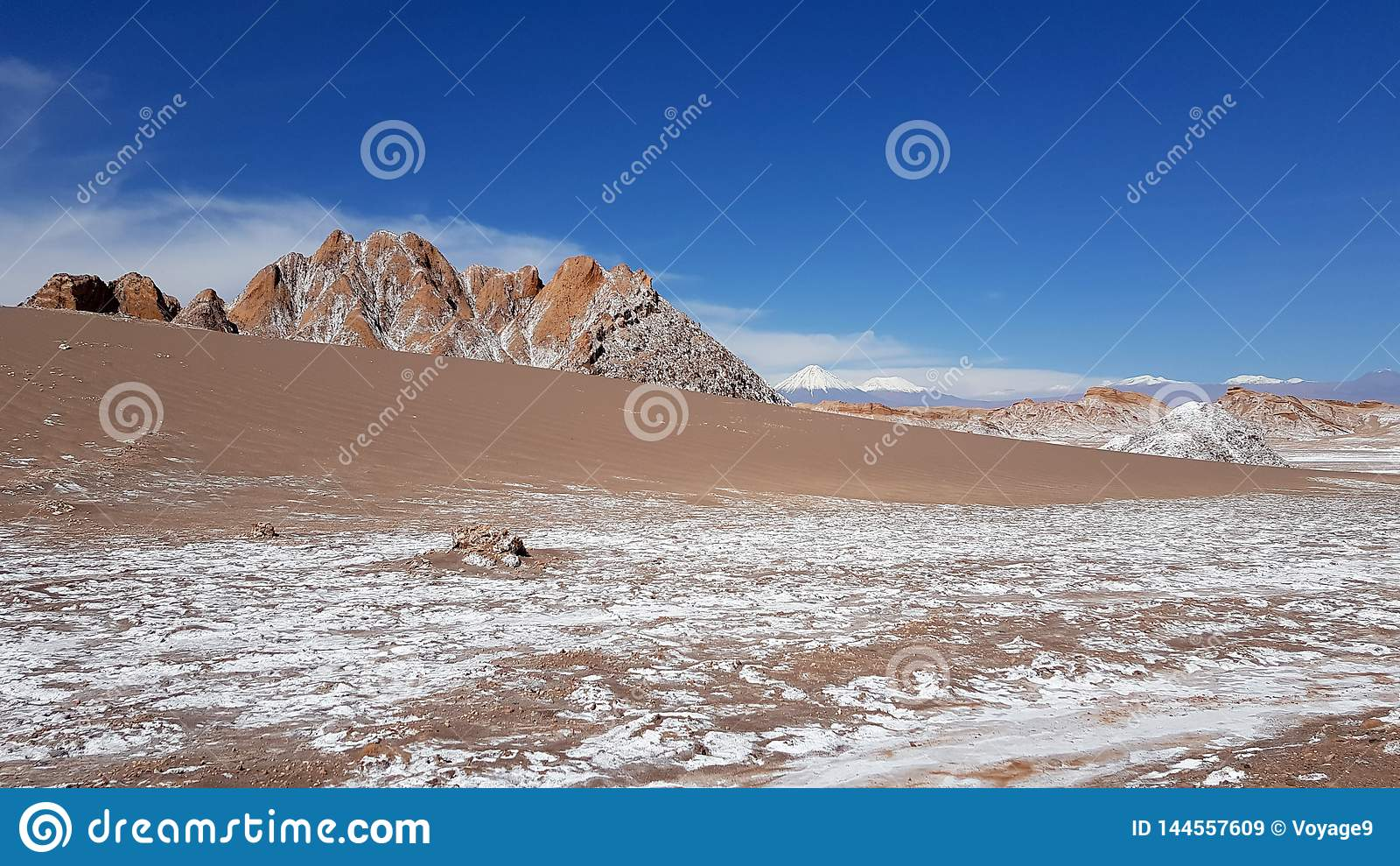 La Luna Valley da lua no deserto de Atacama, o Chile de Valle de