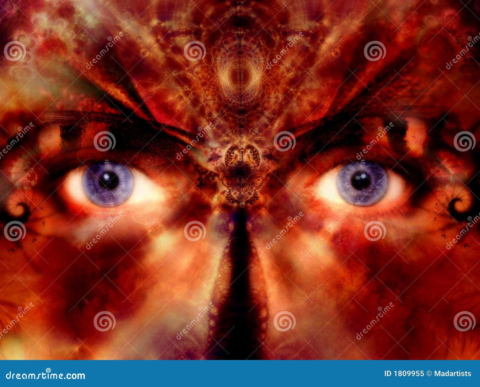 La máscara del traje Eyes el arte de Digitaces
