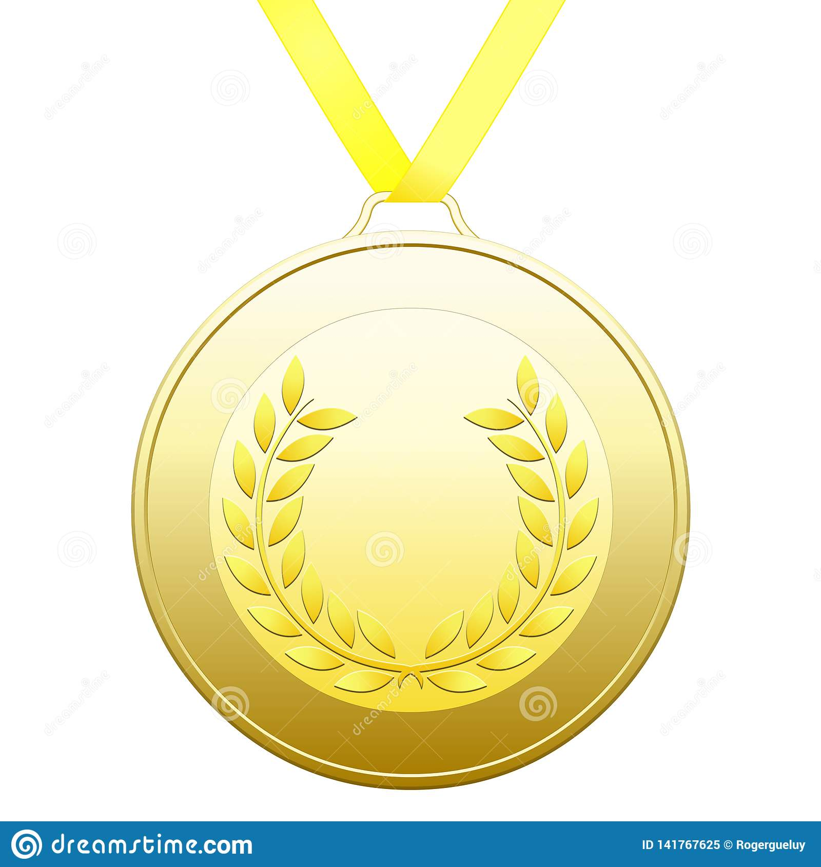 La médaille avec des lauriers d or tressent sur un fond blanc