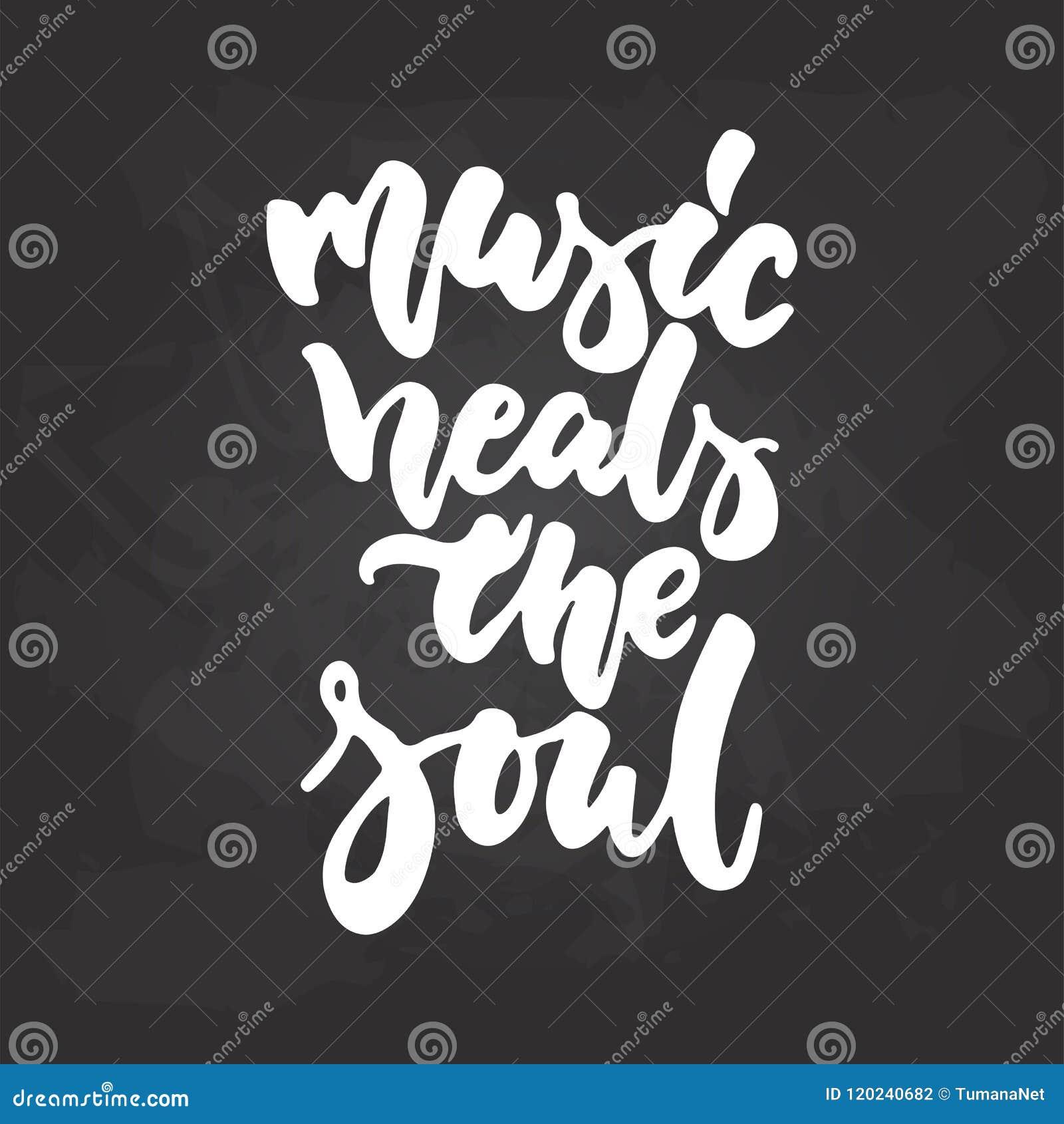 La Música Cura El Alma Frase Musical Dibujada Mano De Las