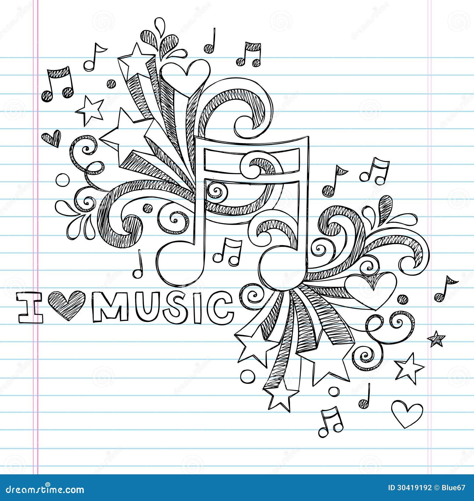 La música observa el ejemplo incompleto del vector del garabato