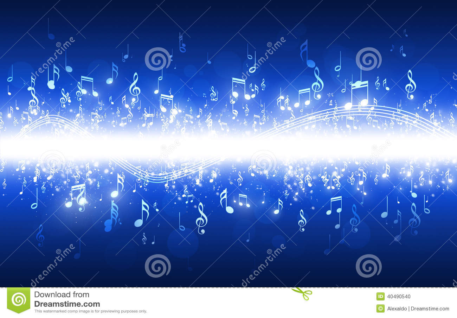 La música observa el fondo azul