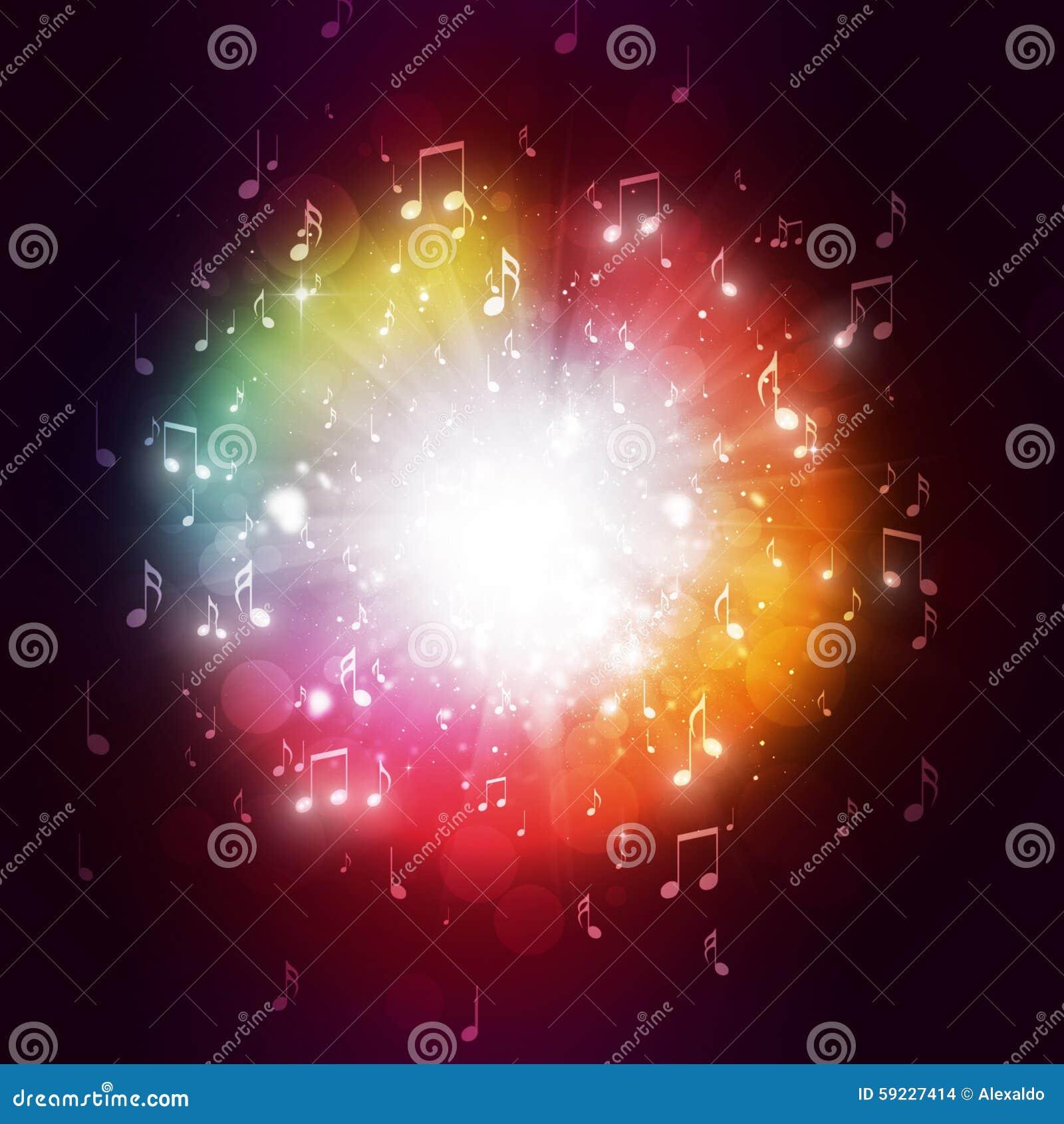 La música observa el fondo multicolor