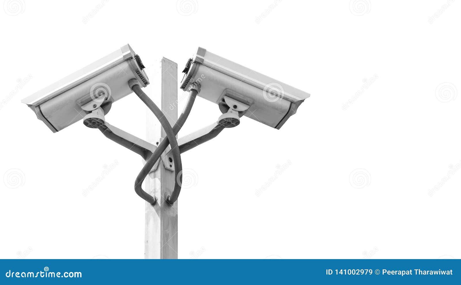 La macchina fotografica doppia del cctv di sorveglianza sul palo isolato sul fondo e sul copyspace del briciolo, usa per la video