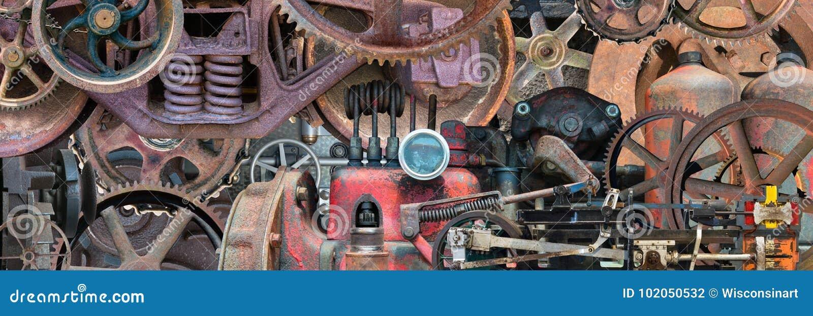 La macchina meccanica industriale parte l insegna