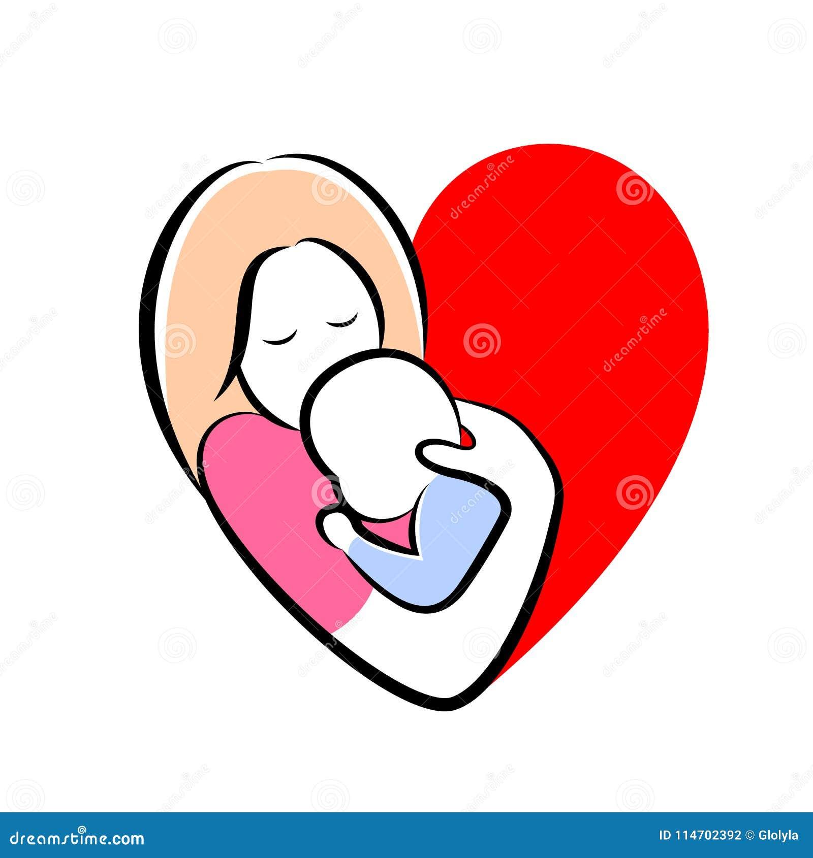 La Madre Ed Il Bambino Hanno Stilizzato Il Simbolo Nella Forma Del