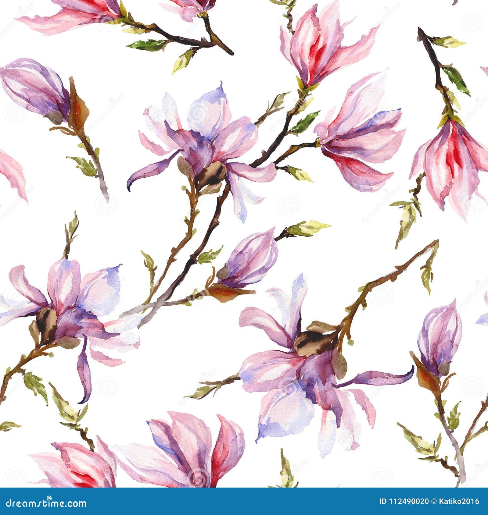 La magnolia rosada florece en una ramita en el fondo blanco Modelo inconsútil Pintura de la acuarela Mano drenada