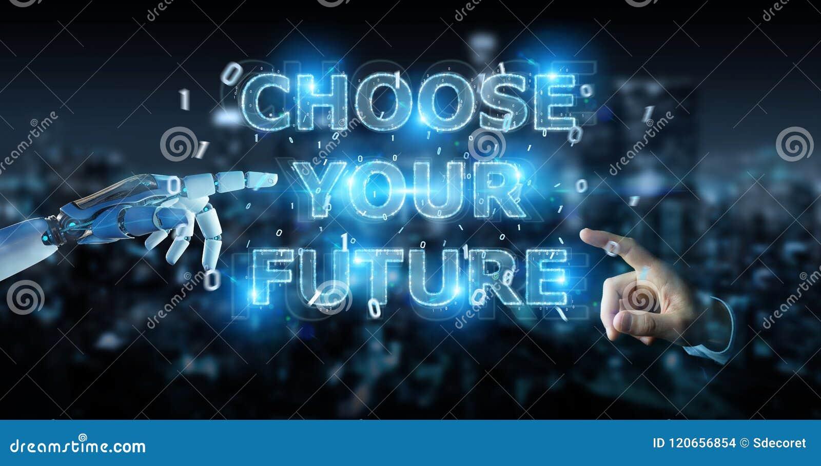 La main blanche de cyborg utilisant l interface 3D des textes de future décision rendent