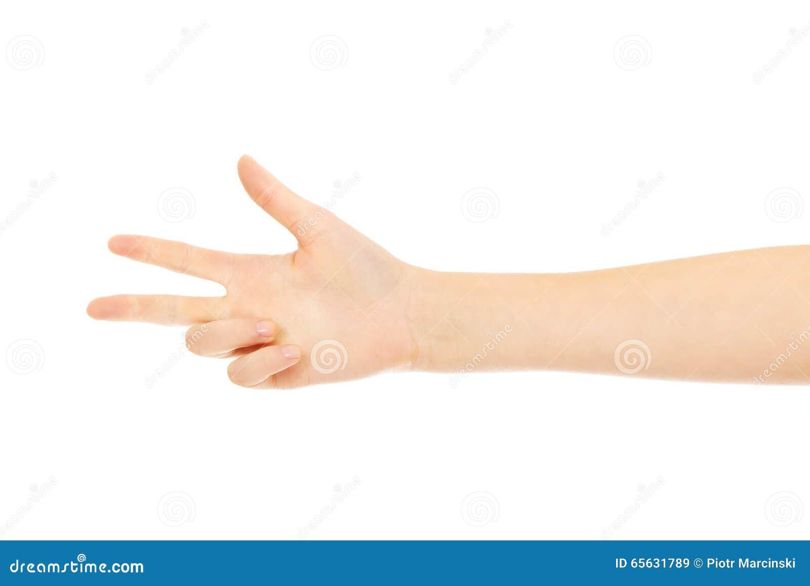 La main de femme montre des doigts de thee