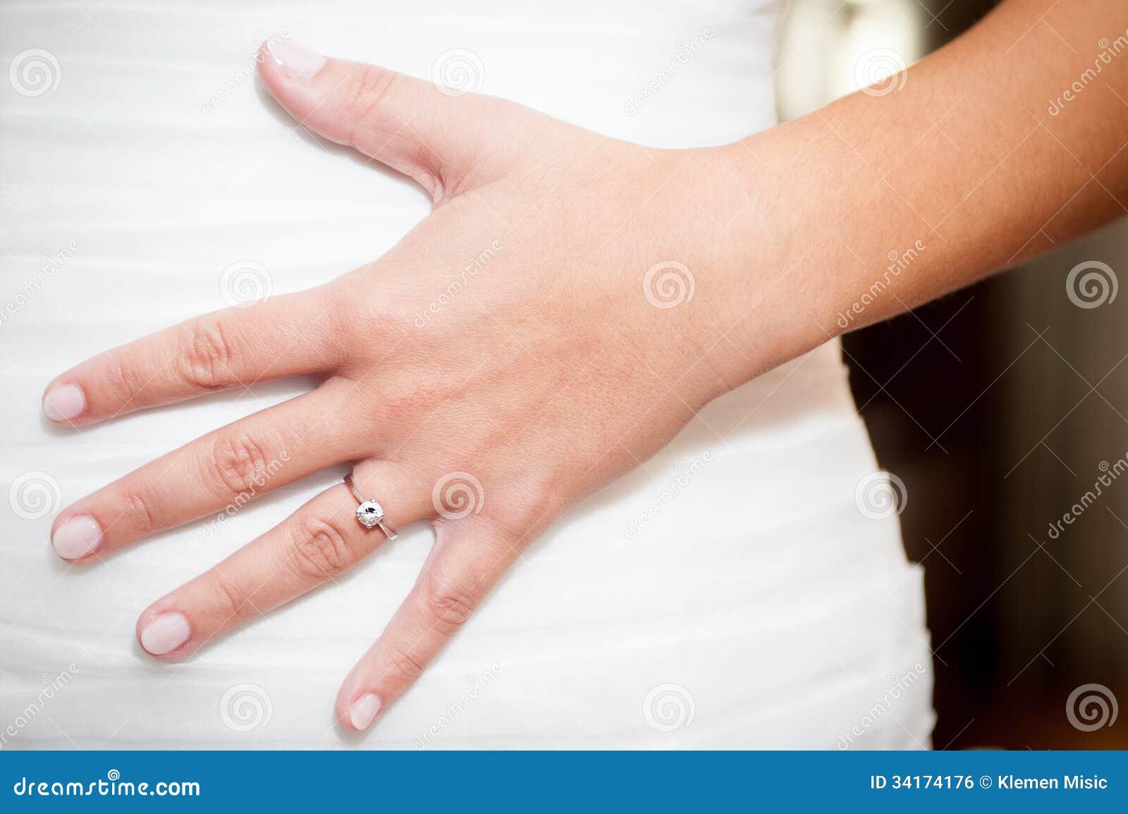 la main de la femme avec la bague de fian ailles sur la robe de mariage image libre de droits. Black Bedroom Furniture Sets. Home Design Ideas