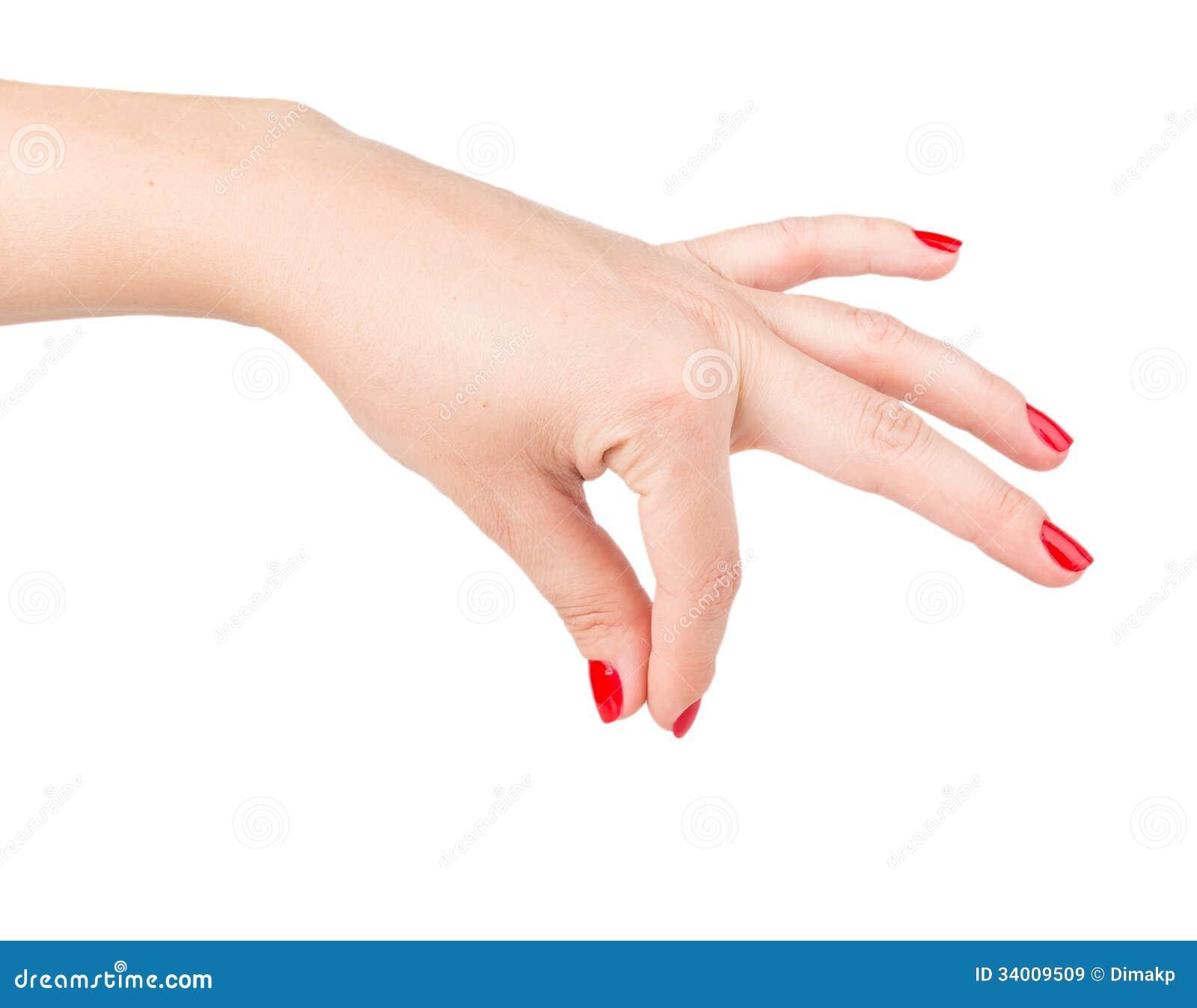 La main de la femme donnant quelque chose
