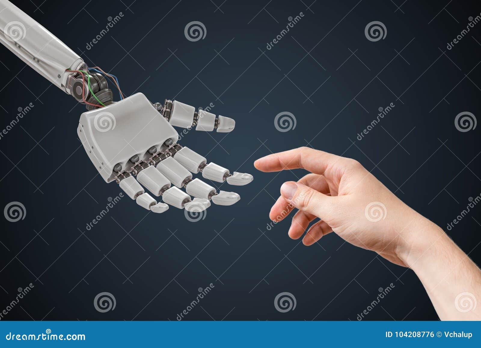 La main de robot et la main humaine touchent Concept d intelligence artificielle et de coopération