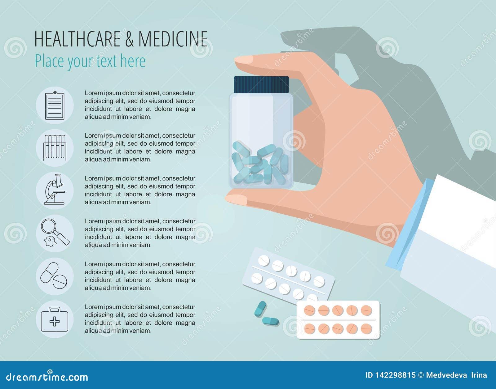 La main du docteur montrant la bouteille de pilules Descripteur de vecteur Graphismes médicaux réglés