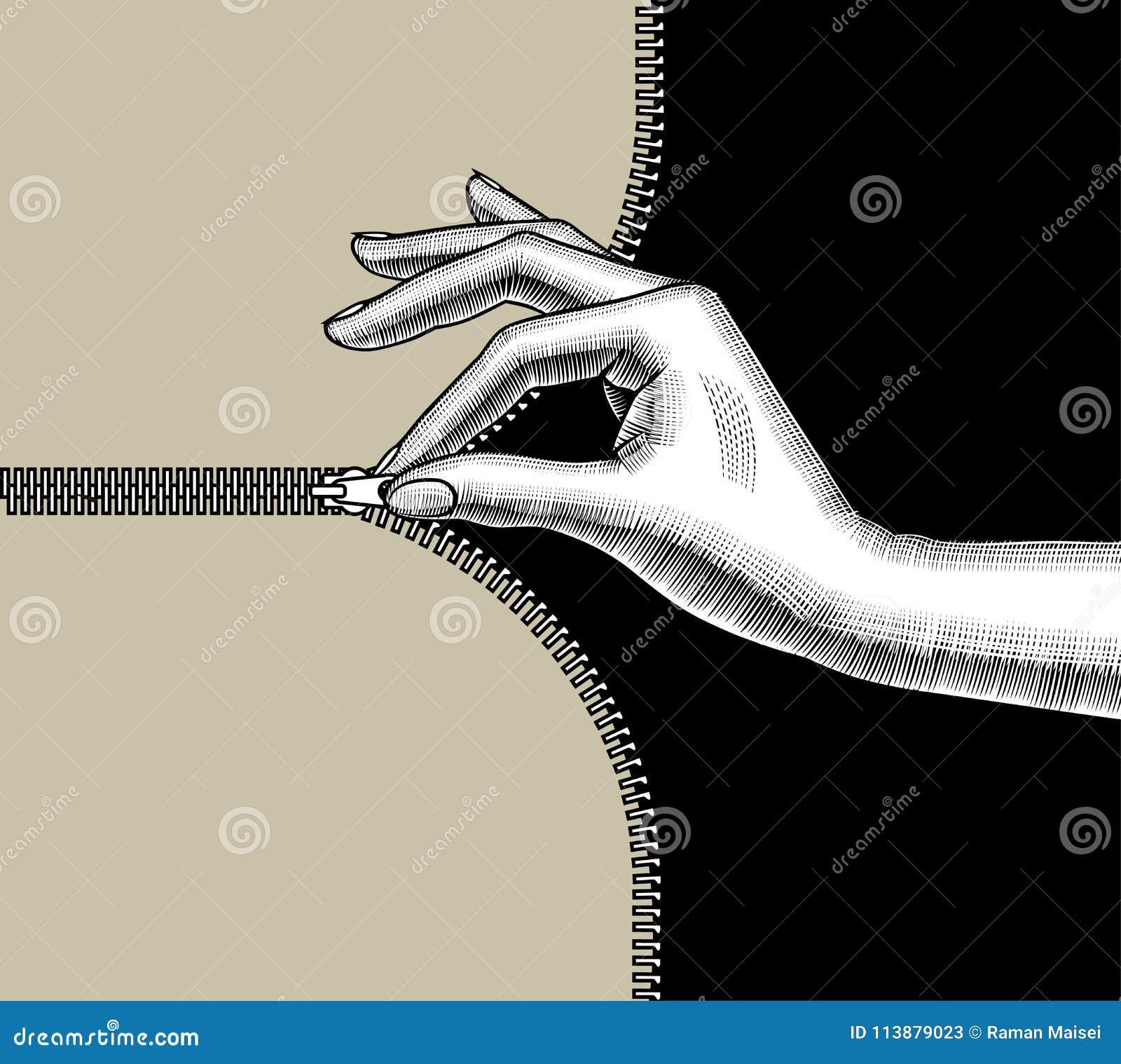 La main du ` s de femme a fermé la fermeture éclair avec des doigts de pincement la fermeture d éclair