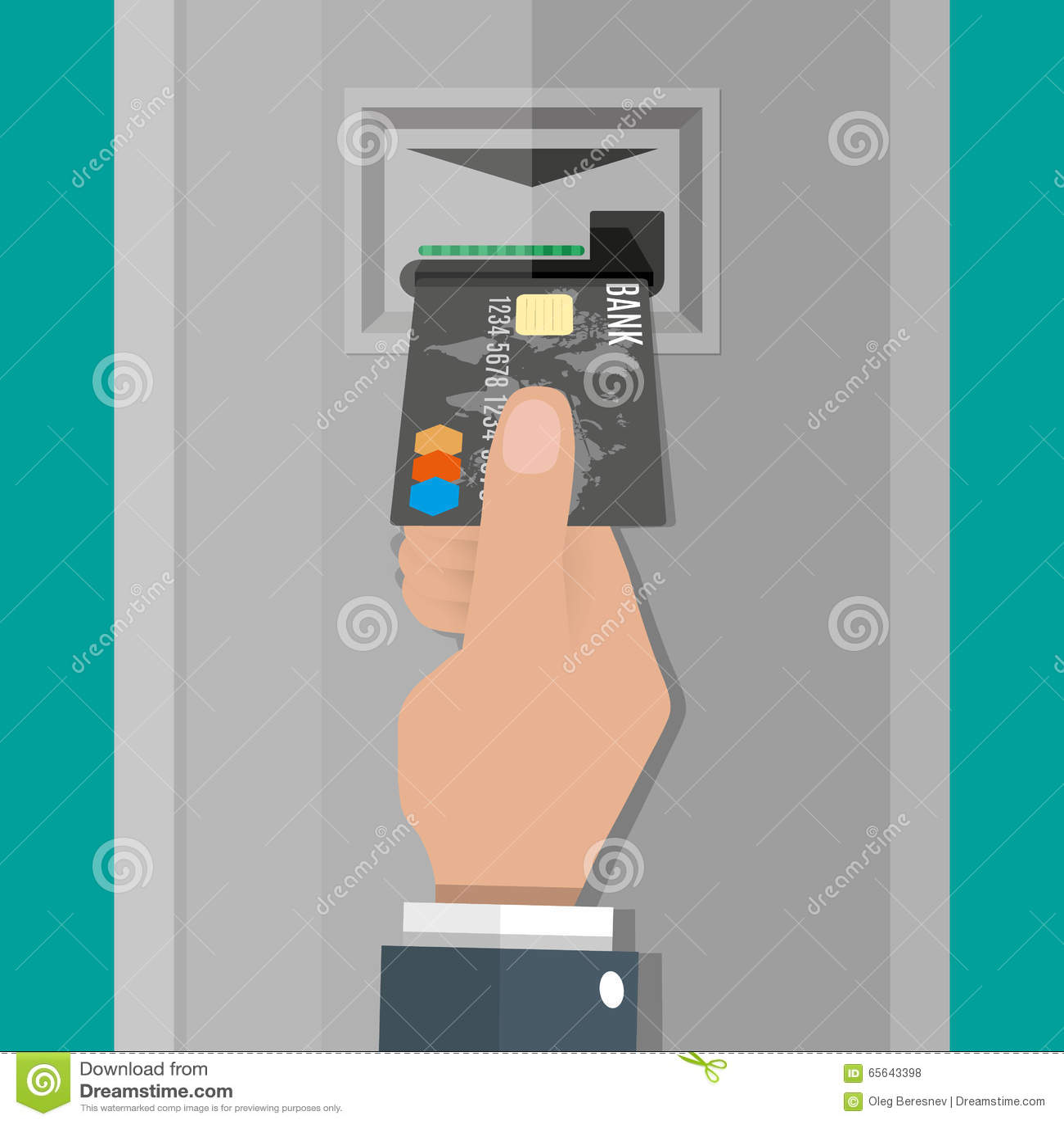 La main insère une carte de débit de crédit dans l atmosphère