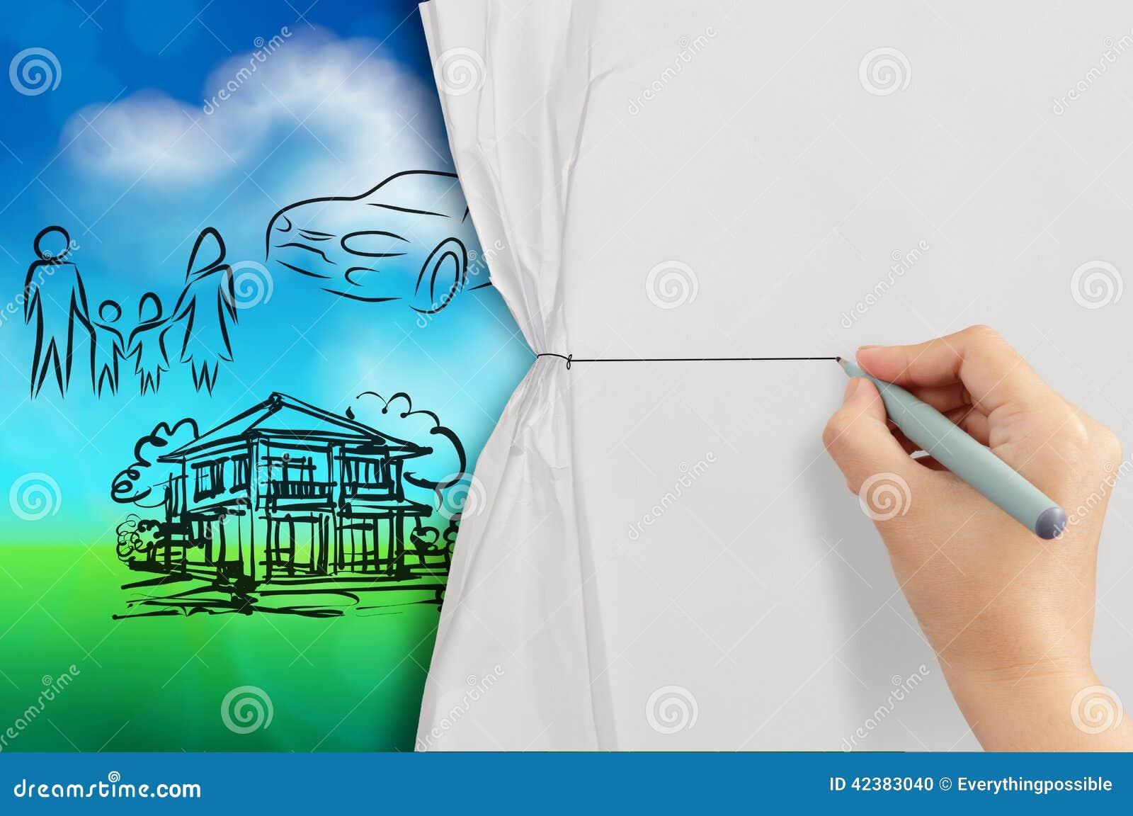 La main ouverte a chiffonné le papier pour montrer la famille de planification