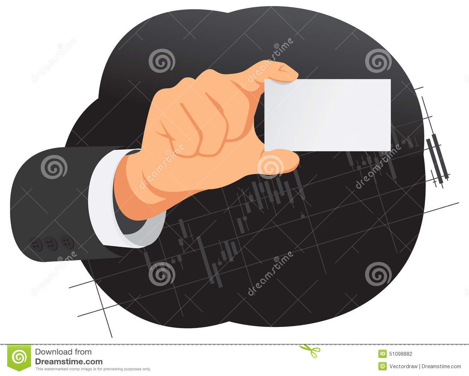 La main tient la carte vierge