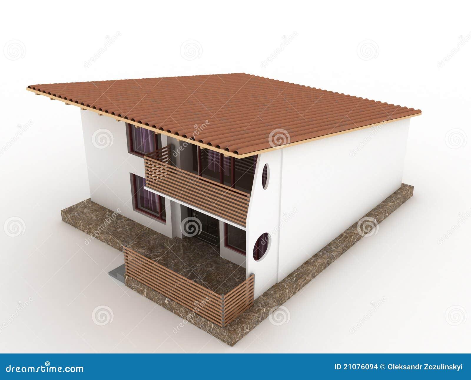 La maison avec le toit en pente 1 images stock image - Maison avec toit une pente ...