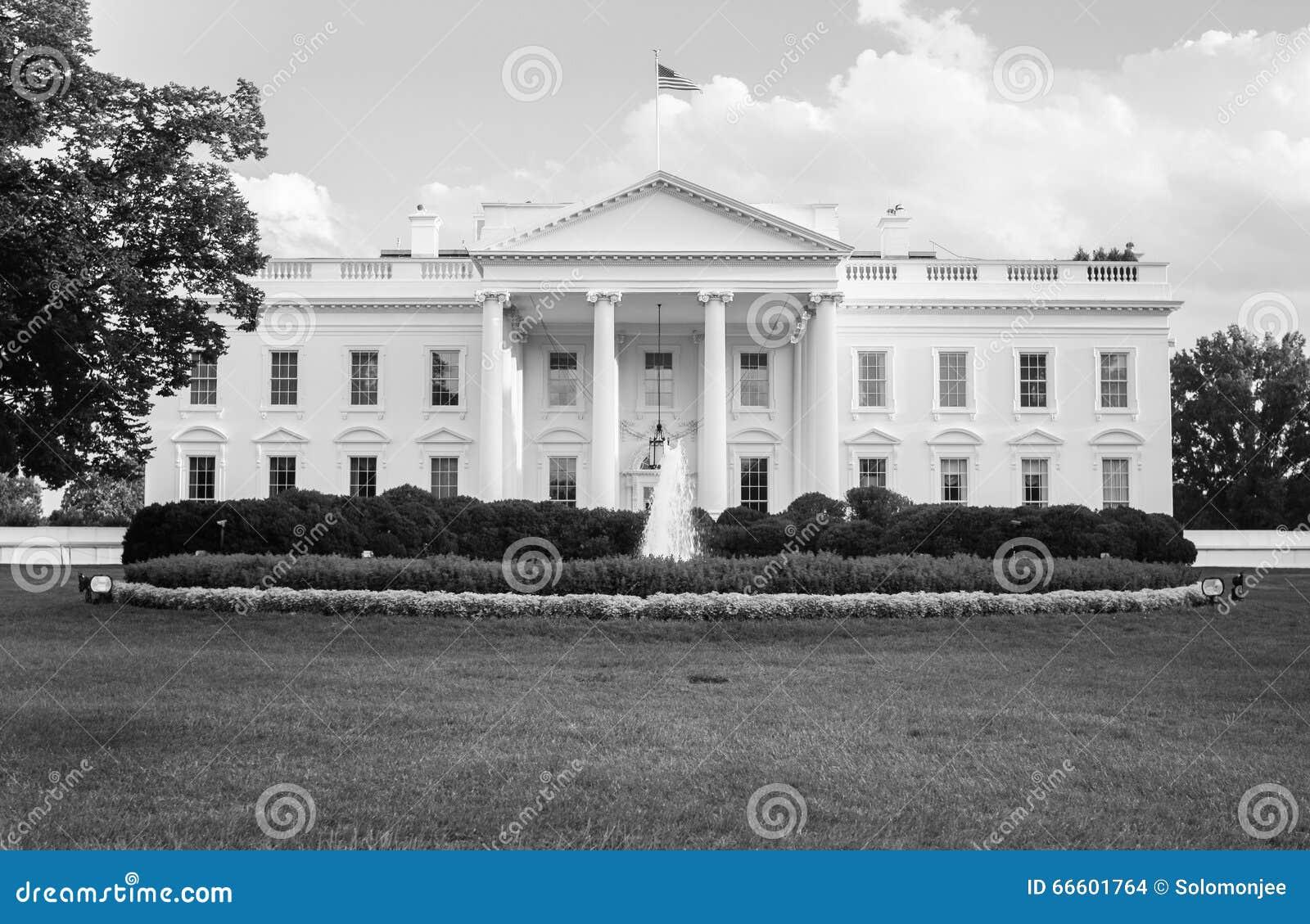 La maison blanche en noir et blanc photo stock image du for Architecture de la maison blanche