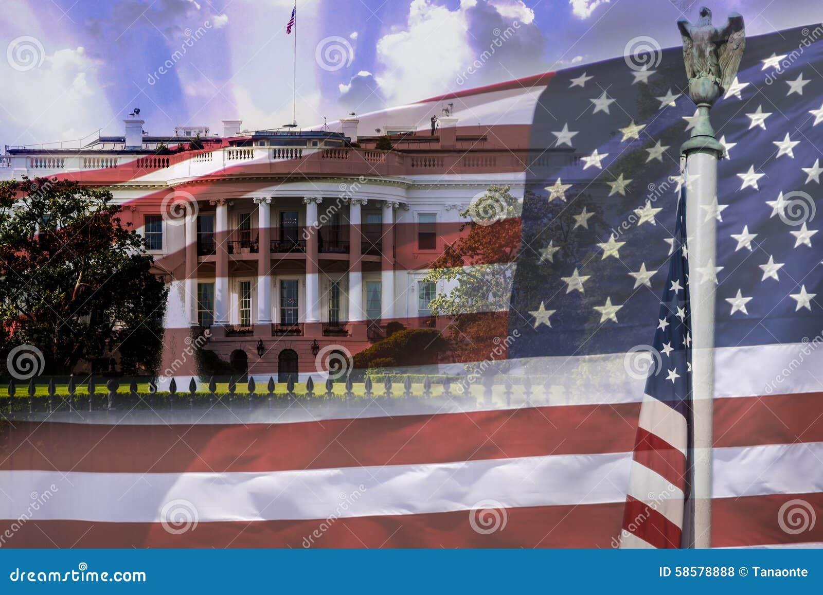 La maison blanche et le drapeau américain les deux symboles des etats unis