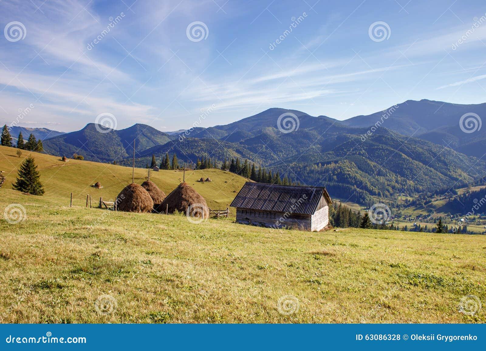 Download La Maison En Bois Mignonne Et Récolte Sur Le Fond De Montagnes Photo stock - Image du toit, zone: 63086328