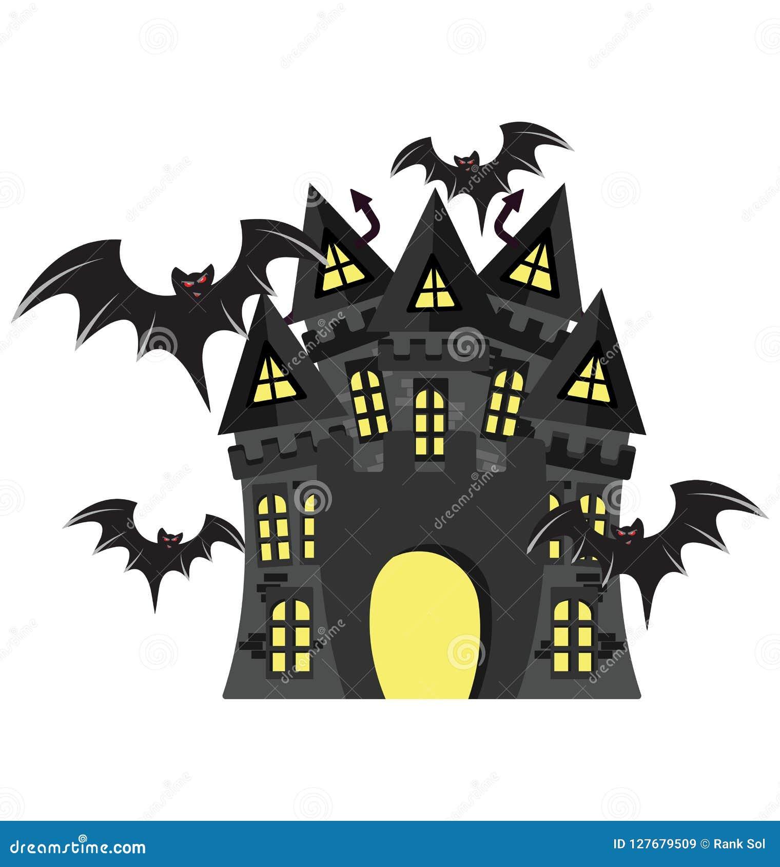 La Maison Hantee Couleur De Manoir De Halloween A Isole L Icone
