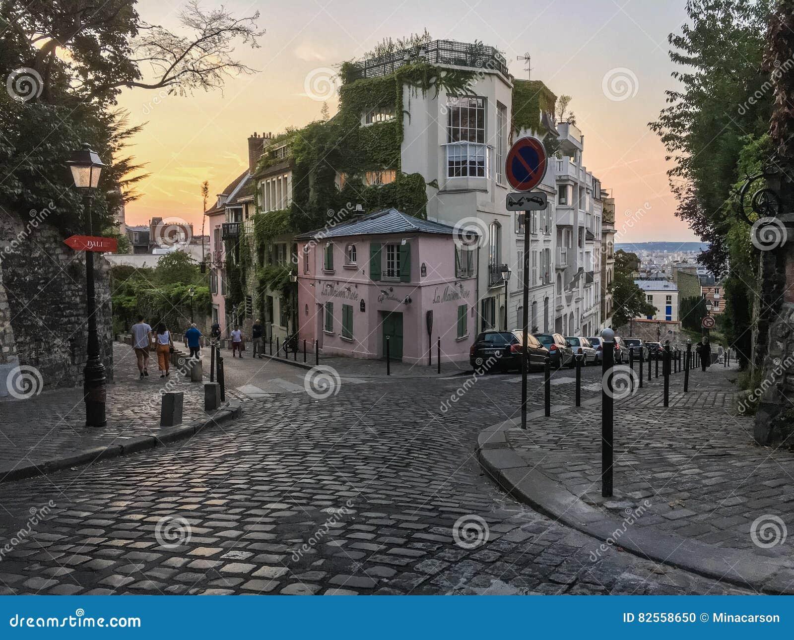 La maison rose at the corner of two streets on montmartre paris france at sunset editorial - La maison paris 17 ...