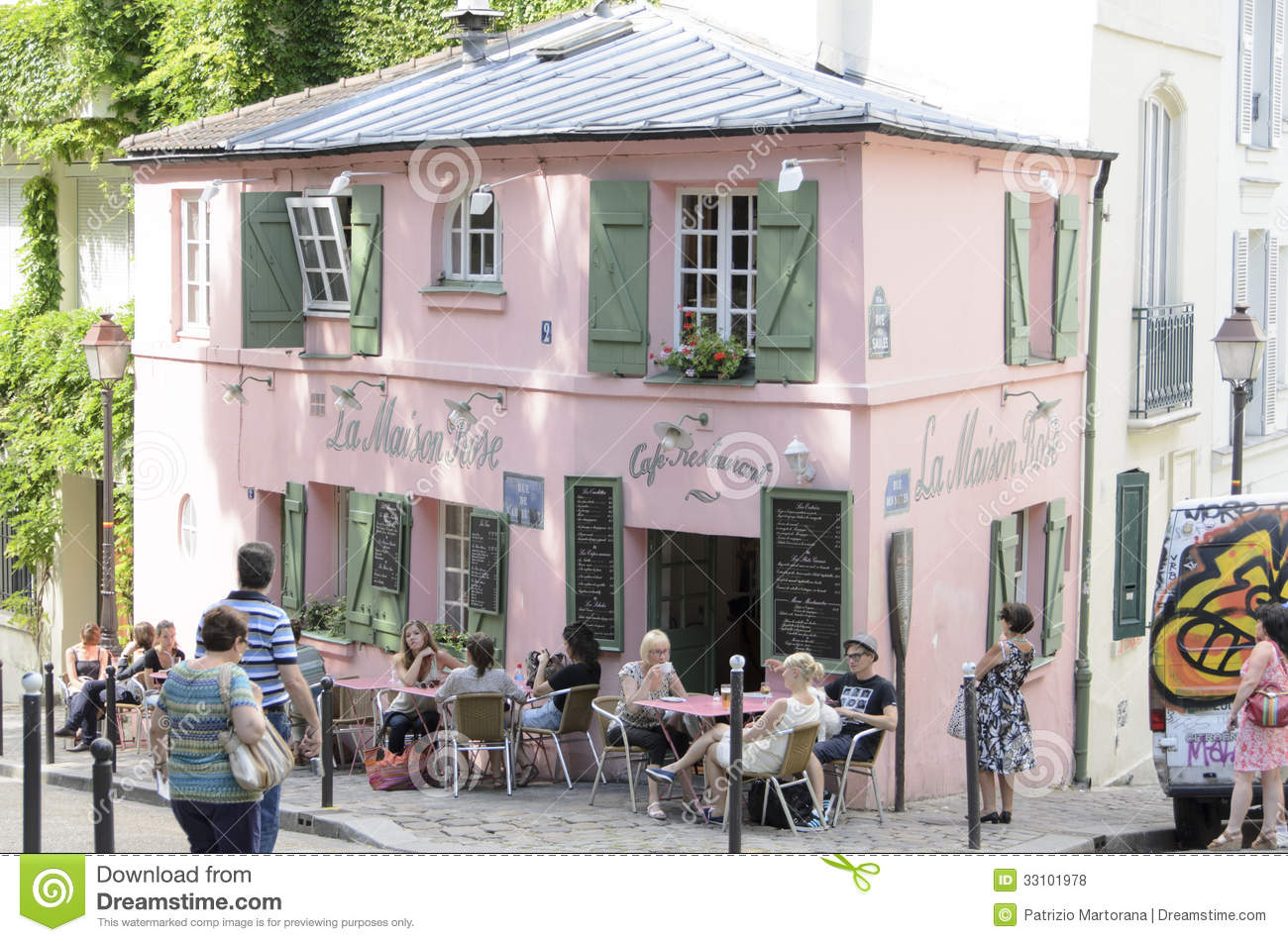Paris france march 5 historical bistro on montmartre la maison rose pink house maurice utrillo painted it around 1912 in paris