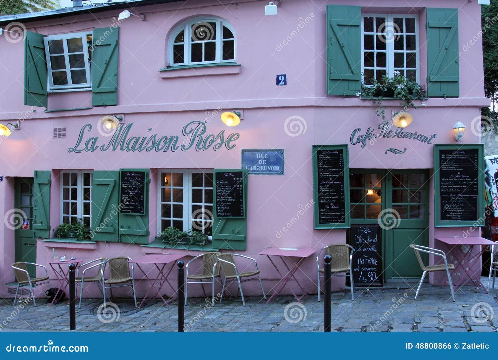 La maison rose restaurant on montmartre in paris editorial for Miroir restaurant montmartre
