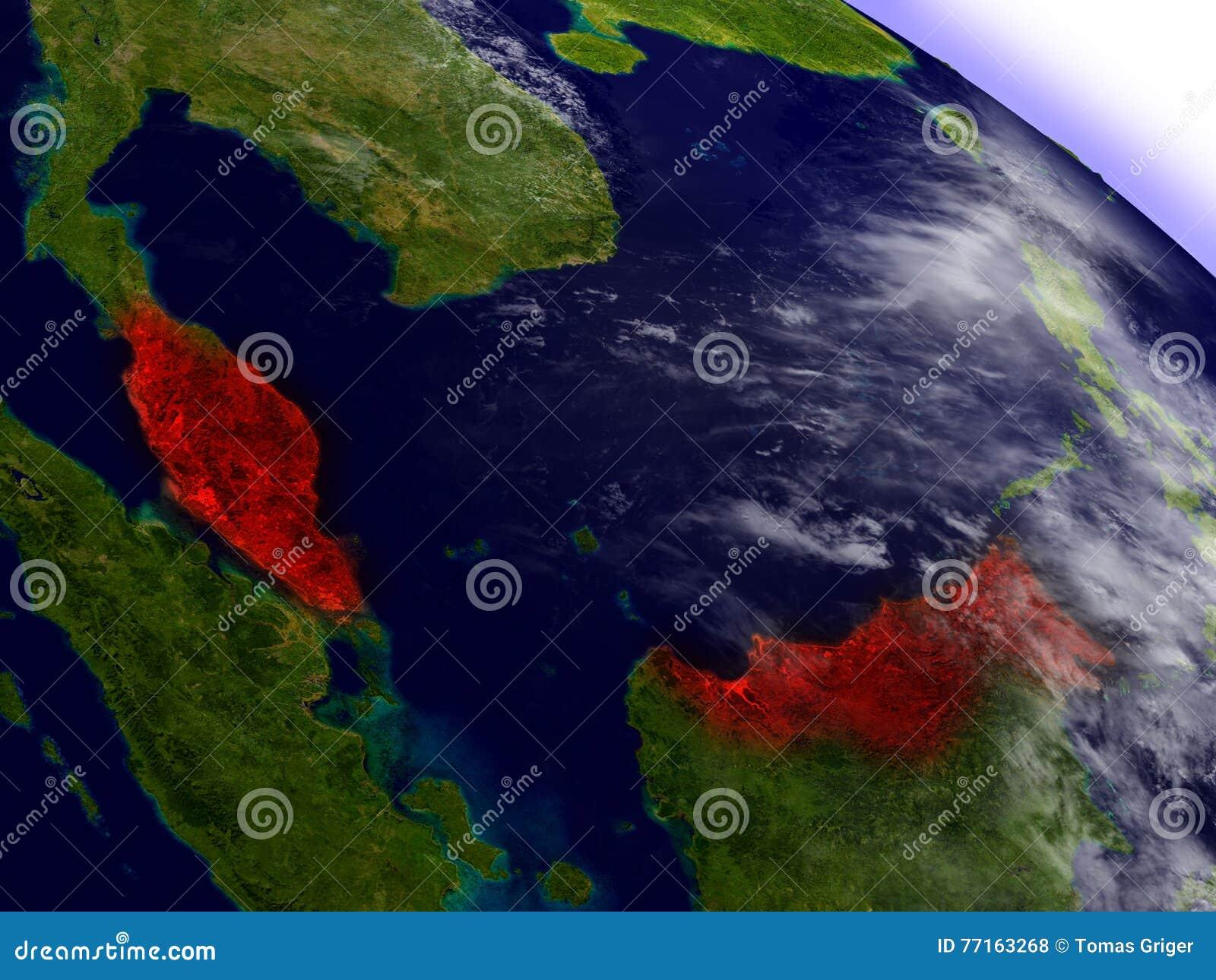 La Malaisie de l espace accentué en rouge